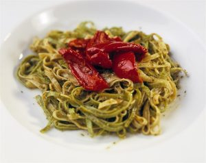 Tagliatelle with Pesto alla Genovese and Red Peppers